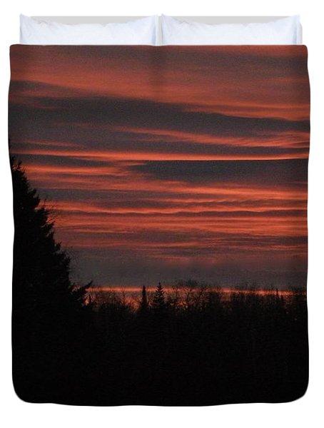 Fog Rising At Sunset Duvet Cover
