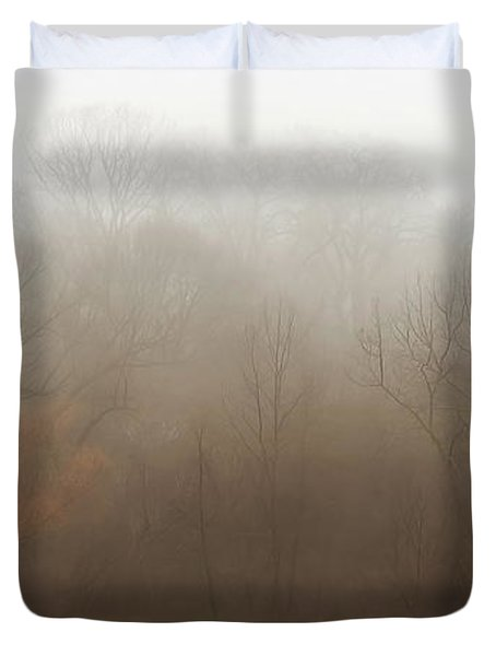 Fog Riverside Park Duvet Cover by Scott Norris