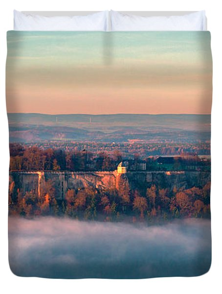 Fog Surrounding The Fortress Koenigstein Duvet Cover