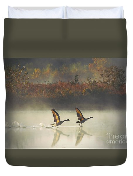 Foggy Autumn Morning Duvet Cover