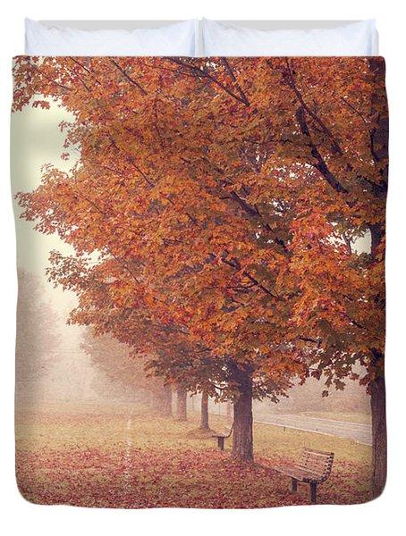 Foggy Autumn Morning Etna New Hampshire Duvet Cover