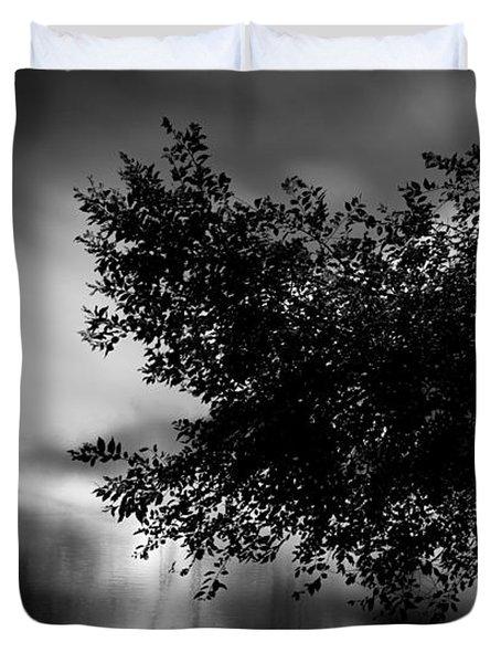 Foggy Autumn Morning On The River Duvet Cover