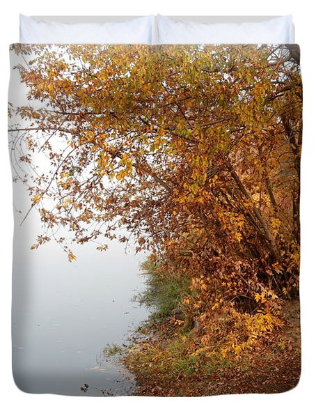 Foggy Autumn Riverbank Duvet Cover by Carol Groenen