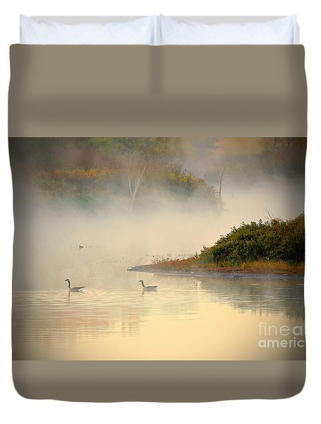 Foggy Autumn Swim Duvet Cover