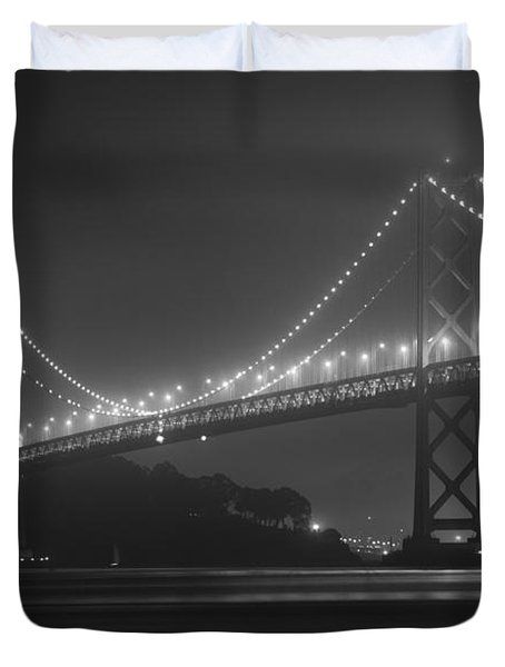 Foggy Bay Bridge Duvet Cover