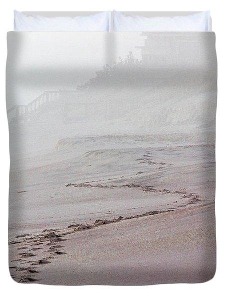 Foggy Beach At Dawn Duvet Cover