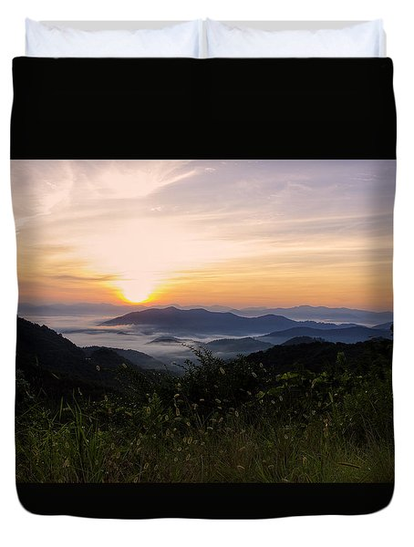 Foggy Blue Ridge Mountain Sunrise Duvet Cover
