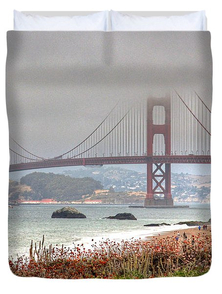 Duvet Cover featuring the photograph Foggy Bridge by Kate Brown