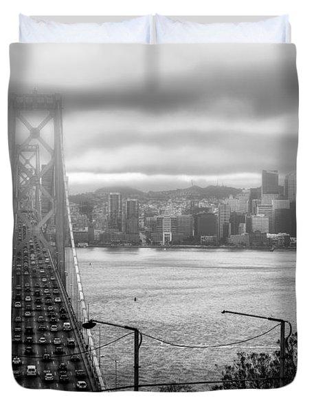 Foggy City Of San Francisco Duvet Cover