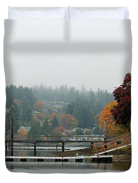 Duvet Cover featuring the photograph Foggy Day In October by E Faithe Lester
