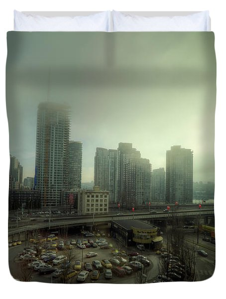 Foggy Downtown Vancouver Duvet Cover by Eti Reid