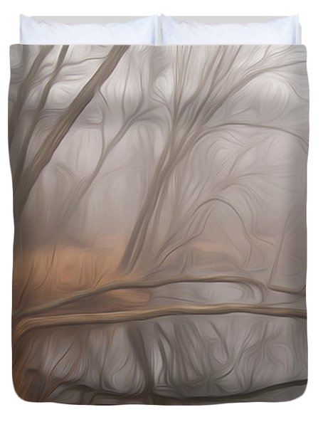 Foggy Fall Morning Duvet Cover