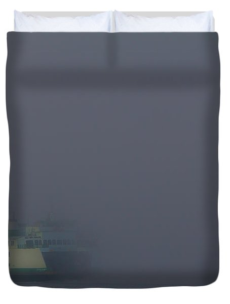 Foggy Ferry Ride Duvet Cover