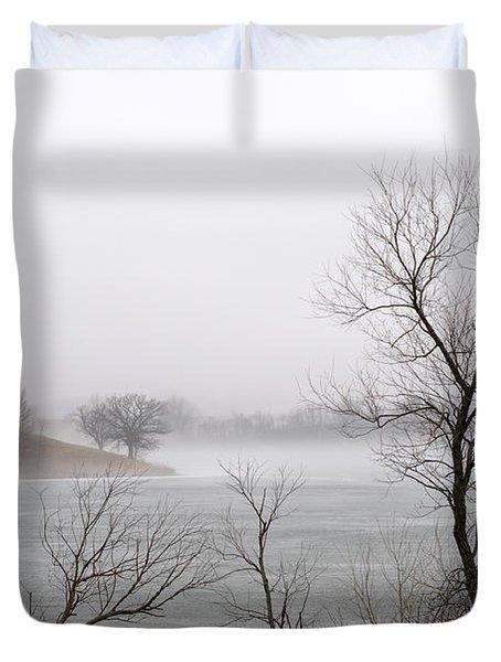 Foggy Frozen Lake Duvet Cover