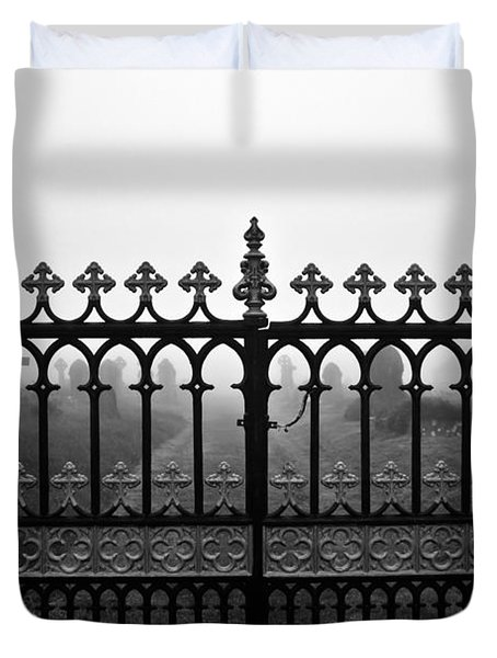 Foggy Grave Yard Gates Duvet Cover by Terri Waters