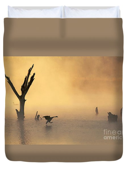 Foggy Landing Duvet Cover by Elizabeth Winter