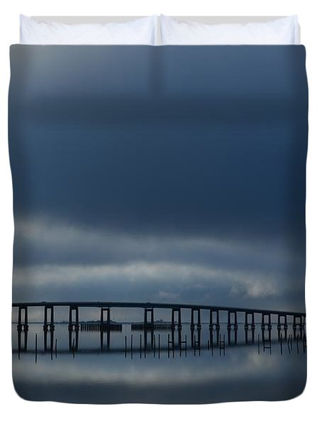 Duvet Cover featuring the photograph Foggy Mirrored Navarre Bridge At Sunrise by Jeff at JSJ Photography