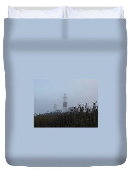 Foggy Montauk Lighthouse Duvet Cover by Karen Silvestri