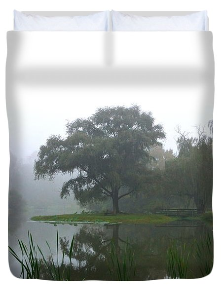Foggy Morning At The Willows Duvet Cover