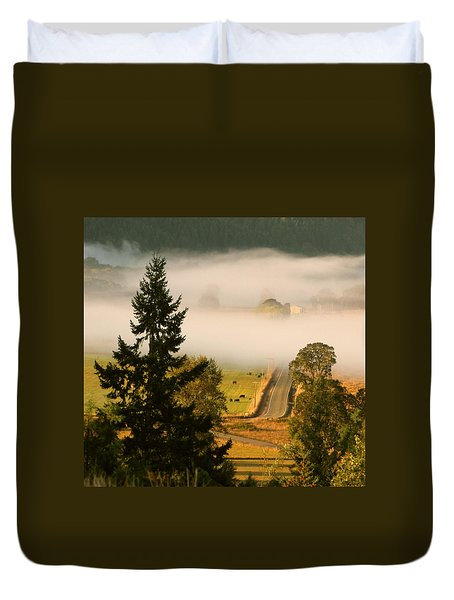 Duvet Cover featuring the photograph Foggy Morning Drive by Katie Wing Vigil
