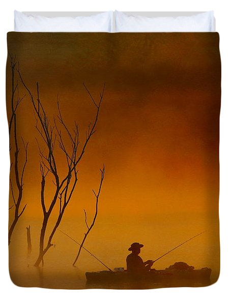 Foggy Morning Fisherman Duvet Cover