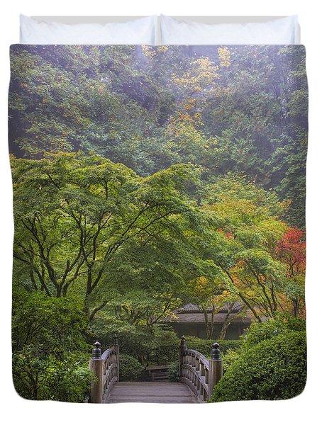 Foggy Morning In Japanese Garden Duvet Cover