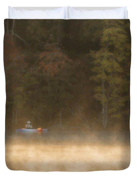 Foggy Morning Kayaking Duvet Cover