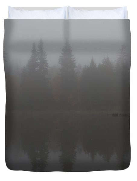 Foggy Morning On The Lake Duvet Cover