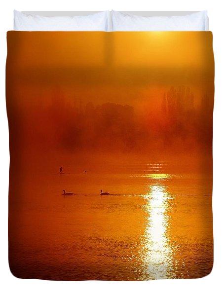 Foggy Morning On The River Duvet Cover
