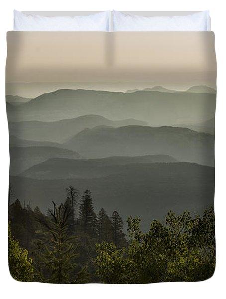 Foggy Morning Over Waterpocket Fold Duvet Cover by Sandra Bronstein