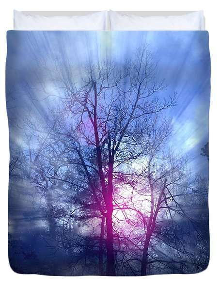 Foggy Morning Sunrise Duvet Cover by Bill Stephens