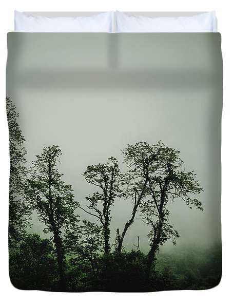 Duvet Cover featuring the photograph Foggy Mountain Morning At The Meadows Of Dan by John Haldane