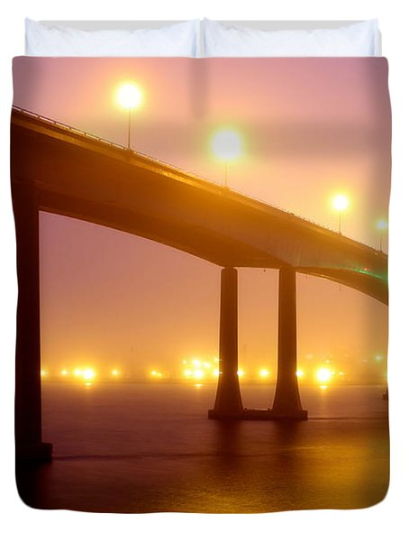 Foggy Navy Bridge Duvet Cover