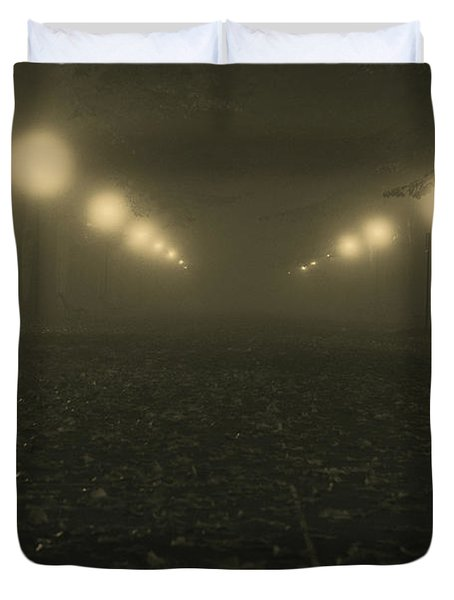 Foggy Night In A Park Duvet Cover