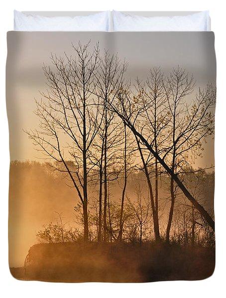 Foggy Ohio Morning Duvet Cover