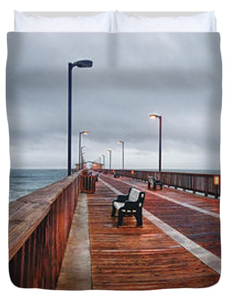 Duvet Cover featuring the digital art Foggy Pier  by Michael Thomas
