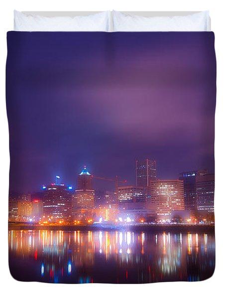 Foggy Portland Nights Duvet Cover