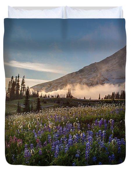Foggy Rainier Sunset Duvet Cover