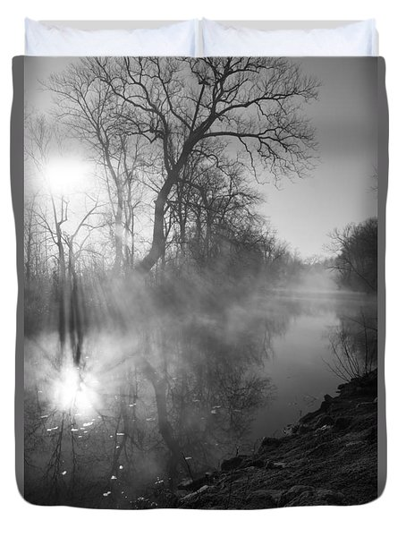 Foggy River Morning Sunrise Duvet Cover