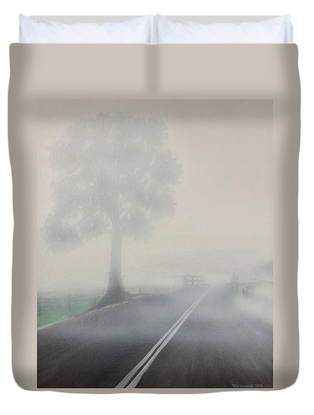 Foggy Road Duvet Cover by Tim Mullaney