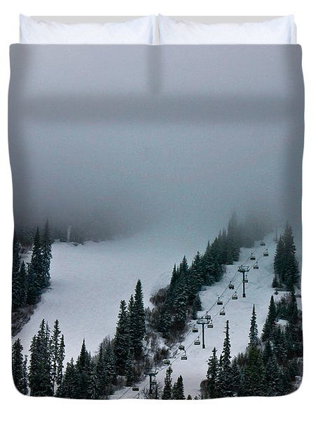 Duvet Cover featuring the photograph Foggy Ski Resort by Eti Reid
