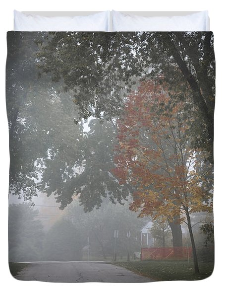 Foggy Street Duvet Cover by Elena Elisseeva