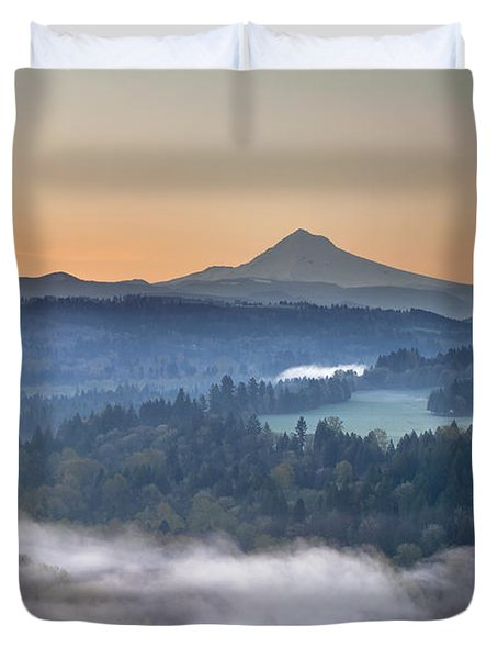 Duvet Cover featuring the photograph Foggy Sunrise Over Sandy River And Mount Hood by JPLDesigns