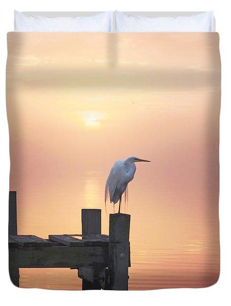 Foggy Sunset On Egret Duvet Cover by Benanne Stiens