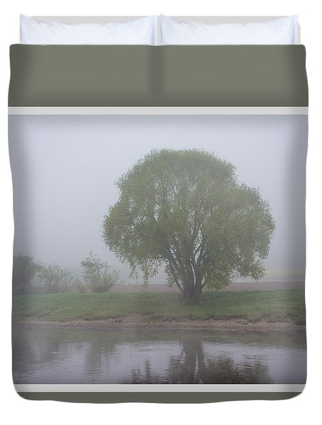 Foggy Elbe Tree Duvet Cover