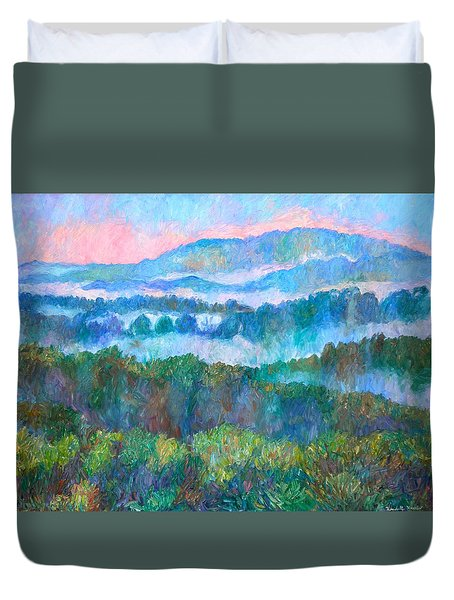 Foggy View From Mill Mountain Duvet Cover by Kendall Kessler