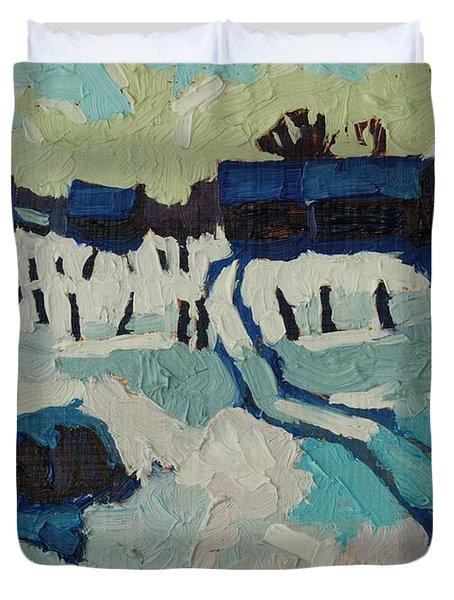 Foley Farm In Winter Duvet Cover
