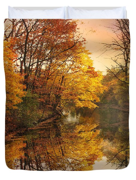 Duvet Cover featuring the photograph Foliage Reflected by Jessica Jenney