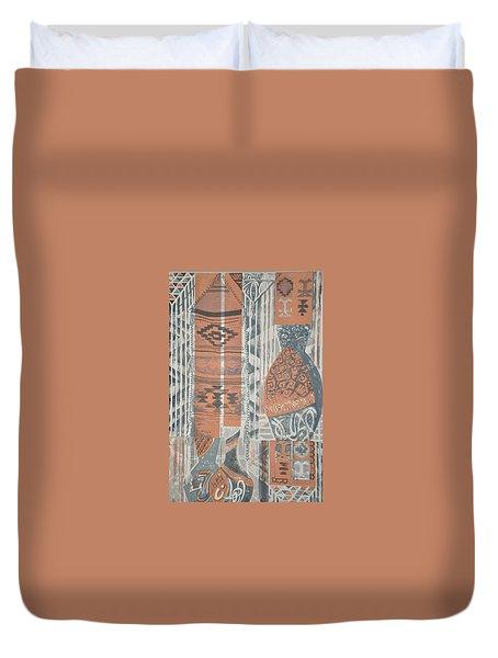Folk Arabic Symbols Duvet Cover