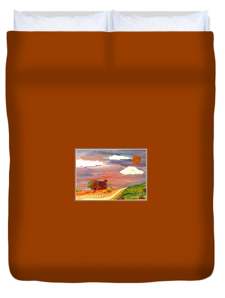 Duvet Cover featuring the painting Folk Art by Bobbee Rickard